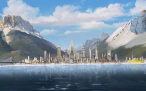 The Legend of Korra, Republic City, clouds, mountain, bridge, skyscraper