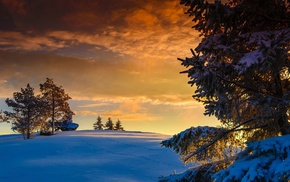 sunset, rock, snow, hill, clouds, nature