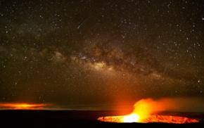 stars, nature, volcano, lava, night
