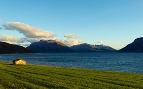Norway, sea, clouds, landscape, house, mountain