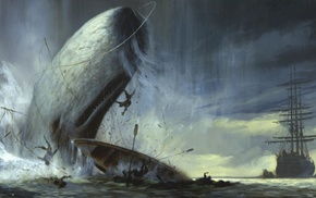 sea, men, artwork, ship, animals, waves