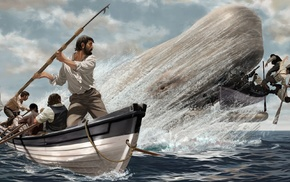 waves, nature, artwork, ship, fighting, Moby Dick