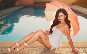 brunette, girl outdoors, sitting, Selena Gomez, girl, actress