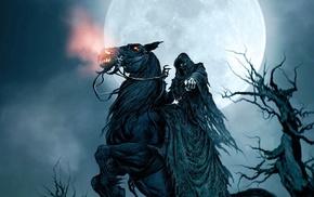 moon, fantasy art, horse, trees, Grim Reaper