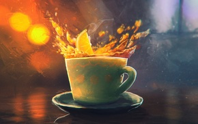 tea, splashes, cup, Sylar, lemons, artwork