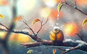 fall, titmouse, snow, winter, nature, leaves