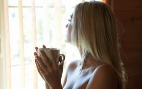 blonde, model, cleavage, cup, girl, hand