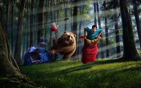 anime, bears, flashlight, nature, trees, creativity
