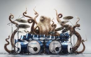 digital art, drums, creativity, Drummer, music, white background