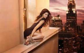 black dress, New York City, ropes, lights, long hair, barefoot
