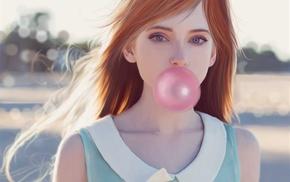 bubble gum, redhead, drawing