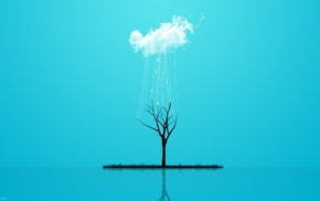 reflection, clouds, blue background, ropes, digital art, trees