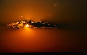 orange, minimalism, clouds, nature, Sun, sunlight