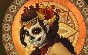 Mexico, digital art, skull, pattern, mosaic, Dia de los Muertos