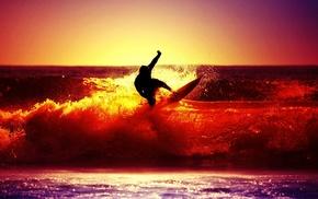 sunset, surfing, sea