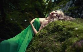 long hair, trees, girl outdoors, model, rock, forest