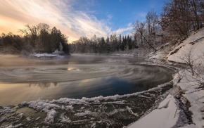 water, clouds, long exposure, landscape, ice, snow