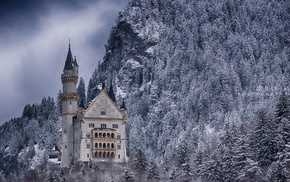 Germany, trees, nature, tower, snow, rock