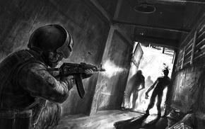 zombies, gun, artwork, digital art, weapon