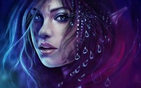 blue eyes, tears, drawing, digital art, elves, girl