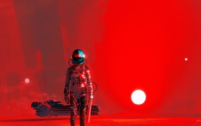 Kuldar Leement, BlackoutMusic, red background, Current Value, astronaut, science fiction