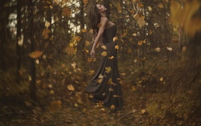 floating, fall, bokeh, leaves, depth of field, girl outdoors