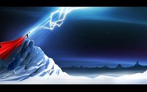 artwork, superhero, lightning, Thor, mountain