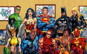Vixen, Wonder Woman, Black Lightning, Superman, Green Lantern, black canary