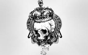 vector art, gray background, crowns, skull