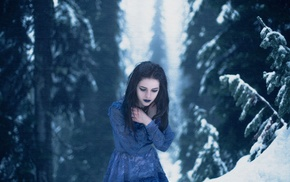 dark hair, snow, winter, girl, forest, girl outdoors