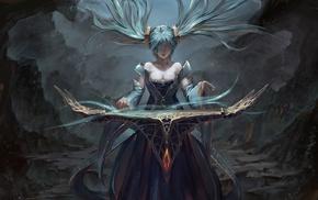blue hair, cave, anime, fantasy art, manga, Sona