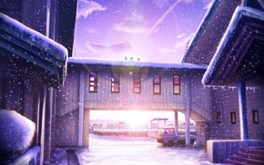 snow, sunlight, anime, lens flare, building, landscape