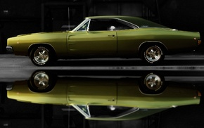 green cars, Dodge Charger, muscle cars, car