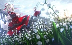 flower petals, Medicine Melancholy, Touhou, short hair, anime girls, ribbon