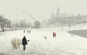 Russia, artwork, snow, polar bears, steampunk, dystopian