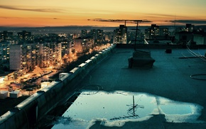 HDR, rooftops, city, sunset, building, cityscape