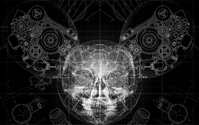 skull, gears, deadmau5, x, rays, helmet