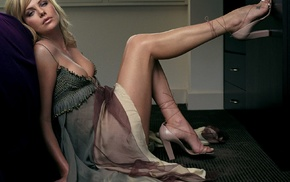 Charlize Theron, girl, actress, high heels, blonde, legs