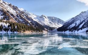 frozen lake, reflection, nature, mountain, Kazakhstan, snowy peak
