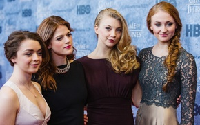 group of girl, girl, dress, braids, blonde, Sophie Turner