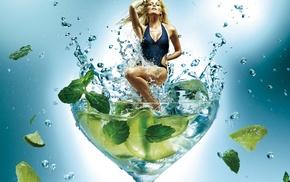 model, girl, swimwear, splashes, blonde, leaves