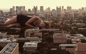 blonde, photo manipulation, black dress, giant, cranes machine, model