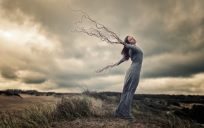nature, girl, photo manipulation, clouds, branch, creativity