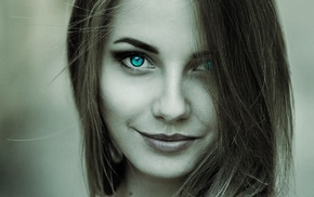 selective coloring, brunette, turquoise eyes, closeup, face, smiling