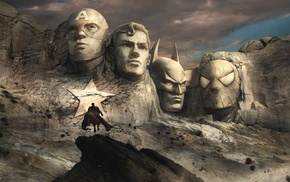 Spider, Man, sculpture, mountain, artwork, Superman