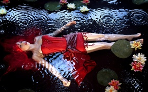water lilies, water, redhead, model, red dress, ripples