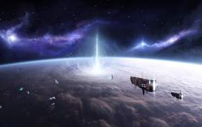 stars, planet, space, clouds, destruction, spaceship