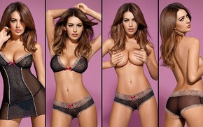 brunette, topless, girl, Holly Peers, see, through clothing