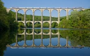 nature, trees, train, TGV, architecture, railway