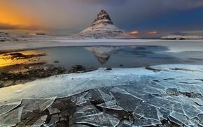 snow, Kirkjufell, water, clouds, nature, Iceland